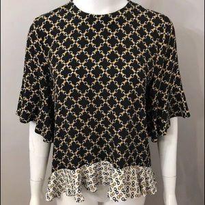 Zara Woman chain print ruffle blouse